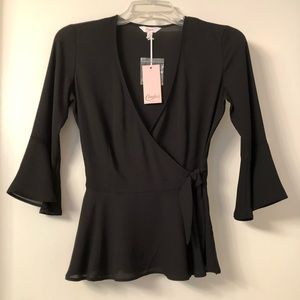 Candie's Wrap Top with Bell Sleeves